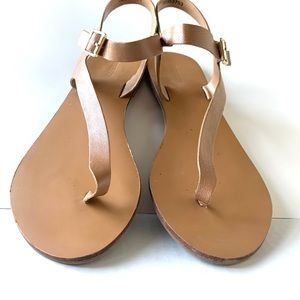 Minimalist Leather Nude Strap Sandals Tan EUC 8